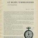 1956 Le Musee d'Horlogerie de La Chaux-de-Fonds Vintage 1956 Swiss Magazine Article Horology