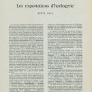 Les Exportations d'Horlogerie Avril 1956 Suisse Swiss Magazine Article Horology Horlogerie