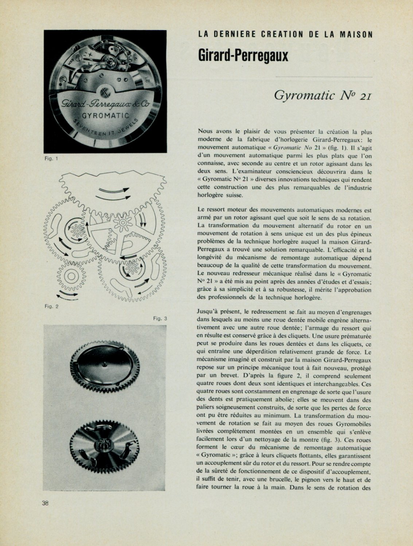 1956 Girard-Perregaux Watch Company Gyromatic #21 Vintage 1956 Swiss Magazine Article