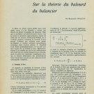 Sur la Theorie du Balourd du Balancier 1959 Swiss Magazine Article Horology