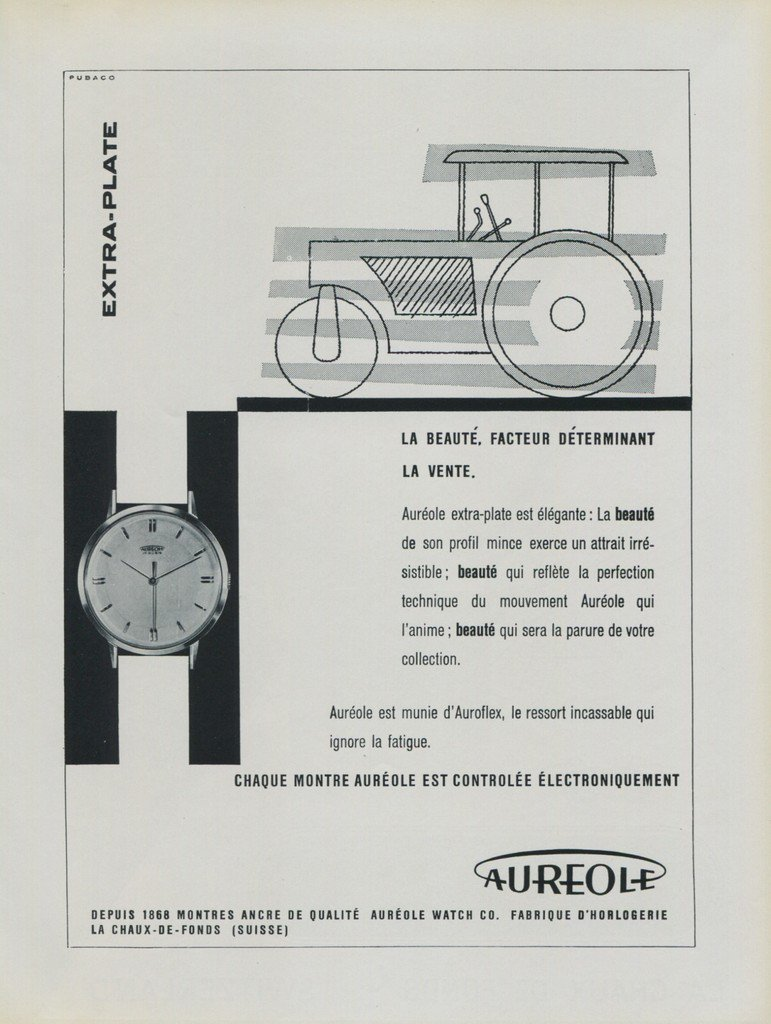 Aureole Watch Company 1956 Swiss Ad Suisse Advert La Chaux-de-Fonds Switzerland Horology