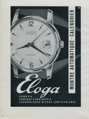 Eloga Watch Company Switzerland Vintage 1964 Swiss Ad Suisse Advert Horlogerie