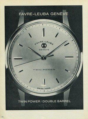 1965 Favre-Leuba Watch Company Vintage 1965 Swiss Ad Suisse Advert Geneva Switzerland