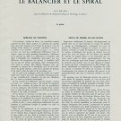 Le Balancier et le Spiral 4e Partie (Part 4) RA Fell 1956 Swiss Magazine Article