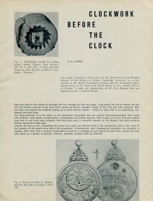 Clockwork Before the Clock by D. J. Price 1956 Swiss Magazine Article Horology