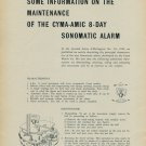 1957 Some Information on the Maintenance of the Cyma-Amic 8-Day Sonomatic Alarm