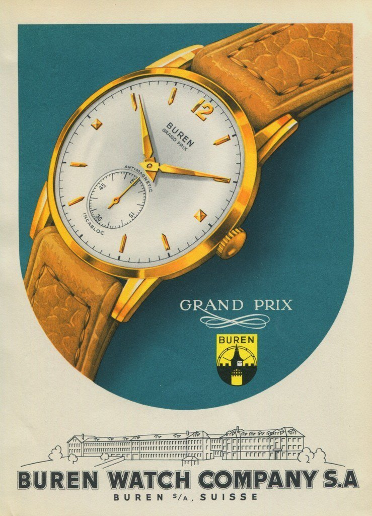 1951 Buren Watch Company Switzerland 1951 Swiss Ad Suisse Advert Horlogerie Horology
