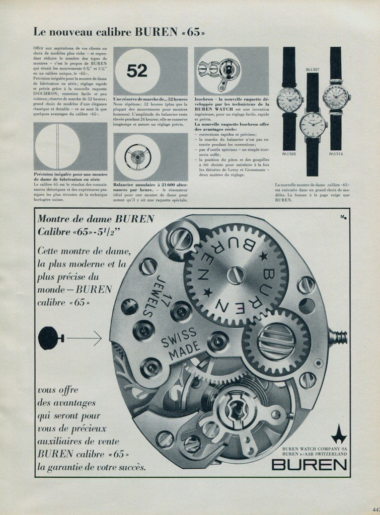 Buren Watch Company Switzerland Vintage 1964 Swiss Ad Suisse Advert Horology