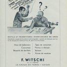 F Witschi Company Switzerland 1954 Swiss Ad Suisse Advert Horlogerie Horology