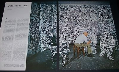 1970 Jean Dubuffet At Work Vintage 1970 Art Magazine Article by Carol Cutler