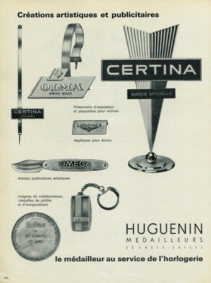 1965 Huguenin Medailleurs Company Switzerland 1965 Swiss Ad Suisse Advert  Horology Horlogerie