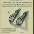 1954 IWC International Watch Company Schaffhouse Switzerland Vintage 1954 Swiss Ad Suisse  Advert