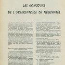 1959 Les Concours de l'Observatoire de Neuchatel 1959 Swiss Magazine Article Horology Horlogerie