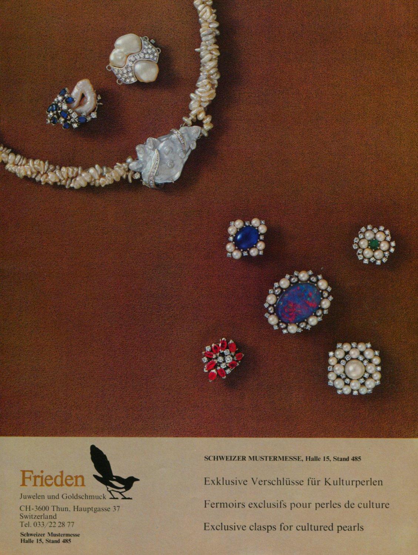 1976 Frieden Jewelry Company Switzerland Vintage 1976 Swiss Ad Suisse Advert