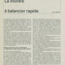 L. Defossez La Montre a Balancier Rapide 1967 Swiss Magazine Article Suisse Horlogerie Horology