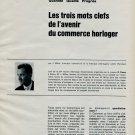 Les Trois Mots Clefs de l'Avenir Commerce Horloger 1963 Swiss Magazine Article Horlogerie Horology