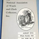 NAWCC #183 August 1976 National Watch & Clock Collectors Bulletin Horology Horlogerie