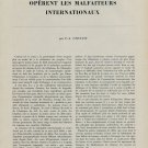 1953 Comment Operent les Malfaiteurs Internationaux 1953 Swiss Magazine Article by F.-A. Ufenast