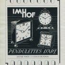 1951 Imhof Clock Company Switzerland Vintage 1951 Swiss Ad Suisse Advert Arthur Imhof Pendulettes