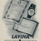 1953 Lavina Watch Company Villeret Switzerland Fiedler SA Vintage 1953 Swiss Ad Suisse Advert