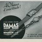 1939 Damas Watch Company Beguelin & Co. Tramelan Switzerland Vintage 1939 Swiss Ad Suisse Advert