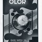 1951 Olor Watch Company Switzerland Vintage 1951 Swiss Ad Suisse Advert Horology Horlogerie