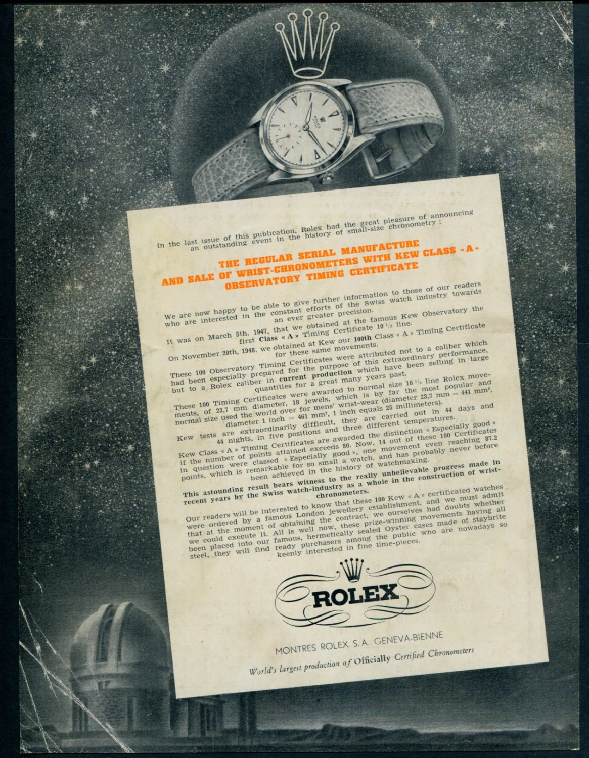 1949 Rolex Watch Company Switzerland Montres Rolex SA Advert 1949 Swiss Ad Suisse Advert