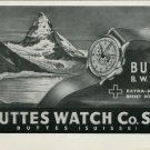 1946 Buttes Watch Company BWC Watch Company Switzerland Vintage 1946 Swiss Ad Suisse Advert