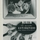 1944 Enicar Watch Company Rigis Watch Co. Gigandet - Rieder Vintage 1944 Swiss Ad Suisse Advert