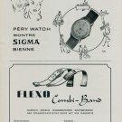 1944 Pery Watch Company Sigma Watch Co. Flexo Company Switzerland 1944 Swiss Ad Suisse Advert