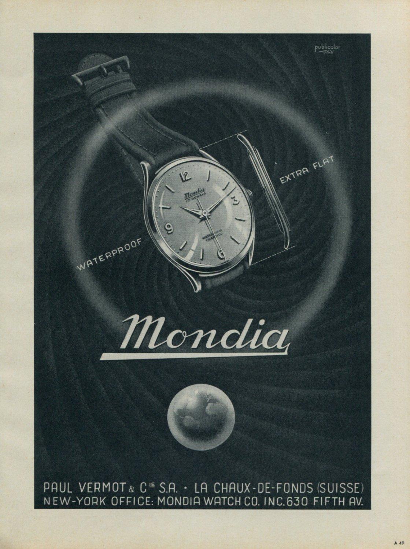1953 Mondia Watch Company La Chaux-de-Fonds Switzerland 1953 Swiss Ad Suisse Advert Paul Vermot