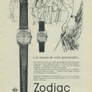 1965 Zodiac Watch Company Switzerland Vintage 1965 Swiss Ad Suisse Advert Horology (French Text)