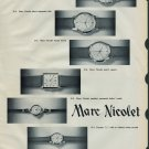 1958 Marc Nicolet Watch Company Switzerland Vintage 1958 Swiss Ad Suisse Advert Horology Horlogerie