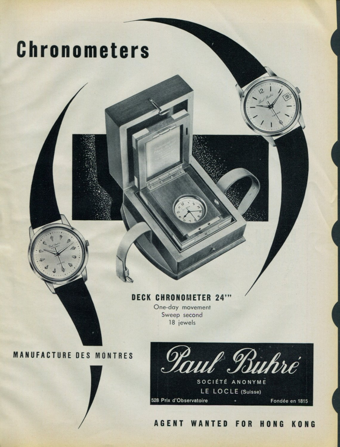 1958 Paul Buhre Watch Company Switzerland Vintage 1958 Swiss Ad Suisse Advert Hong Kong