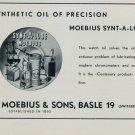 1957 H Moebius & Sons Moebius Synt-A-Lube Watch Oil Advert 1957 Swiss Ad Suisse Advert