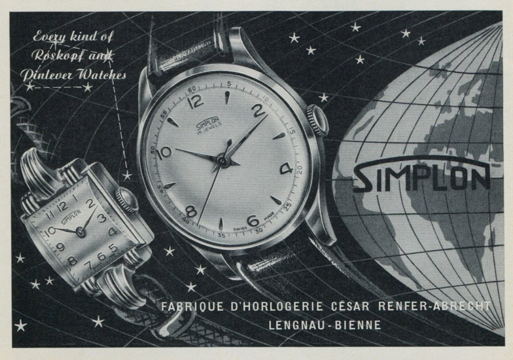 1957 Simplon Watch Company Cesar Renfer-Abrecht Vintage 1957 Swiss Ad Suisse Advert