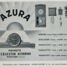 1947 Azura Clock Company Luxor Export Moutier Switzerland Vintage 1947 Swiss Ad Suisse Advert