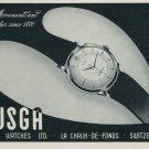 1957 Busga Watch Company La Chaux-de-Fonds Switzerland Vintage 1957 Swiss Ad Suisse Advert