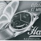 1947 Hafis Watch Company F. Suter & Co. Switzerland Vintage 1947 Swiss Ad Suisse Advert