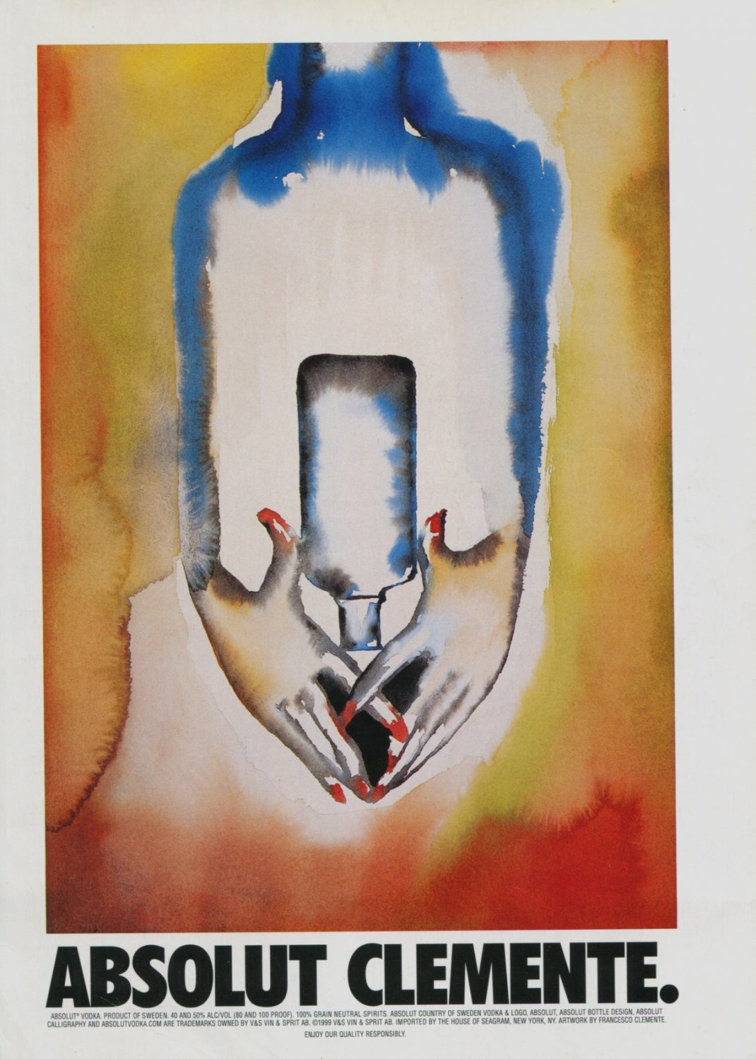 Francesco Clemente Absolut Clemente Art Ad Absolut Vodka Advertisement Advert