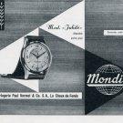 1956 Mondia Watch Company Paul Vermot & Co. Switzerland Vintage 1956 Swiss Ad Suisse Advert