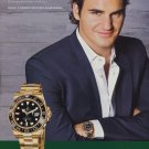 Roger Federer Rolex Watch Company 2009 Ad Magazine Advert Advertisement Tennis