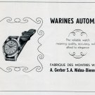 1951 Warines Watch Company A. Gerber SA Switzerland Vintage 1951 Swiss Ad Suisse Advert