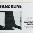 1975 Franz Kline Vintage 1975 Art Exhibition Ad Advert David McKee Gallery NY Advertisement