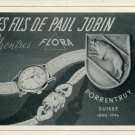 1946 Flora Watch Company Les Fils Paul Jobin Switzerland Vintage 1946 Swiss Ad Suisse Advert