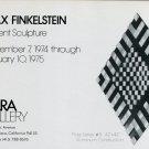 1974 Max Finkelstein Sculptor Vintage 1974 Art Exhibition Ad Advert Zara Gallery San Francisco