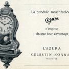 1959 Azura Clock Company Celestin Konrad Vintage 1959 Swiss Ad Suisse Advert Switzerland