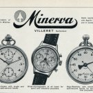 1956 Minerva Watch Company Villeret Switzerland Vintage 1956 Swiss Ad Suisse Advert