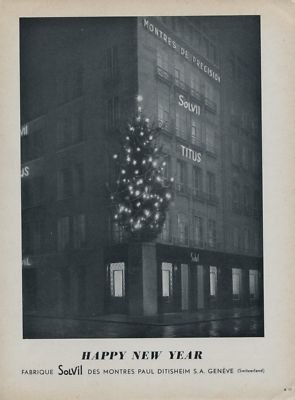 1954 Solvil Watch Company Switzerland  Happy New Year Vintage 1954 Swiss Ad Suisse Advert