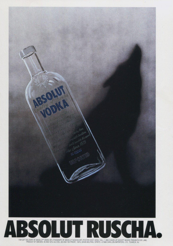 Absolut Ruscha Edward Ruscha Absolut Vodka Ad Advert Magazine Advertisement